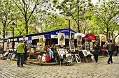 PARIS, FRANCE - MAY 14: Artists in Place du Tertre on May 14, 2013 in Paris, France. Many artists se