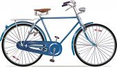 foto of bicycle gear  - The old blue classic bicycle. This is the great specimen of the old retro bikes.