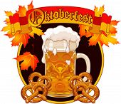 Round Oktoberfest Celebration design with glass of beer autumn leaves