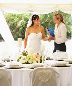 pic of marquee  - Bride With Wedding Planner In Marquee - JPG
