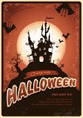pic of scary haunted  - retro halloween poster or invitation with haunted castle and bats - JPG