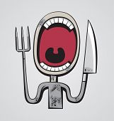 image of grotesque  - Grotesque hungry man with big throat and fork and knife instead of hands - JPG