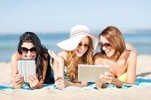 stock photo of sunbathers  - summer holidays - JPG
