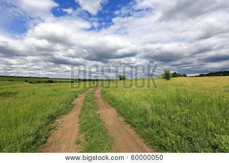Rural roads in steppe. Summer, nice day