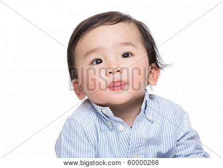 Asian baby boy making funny face