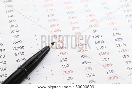 Data spreadsheet and pen