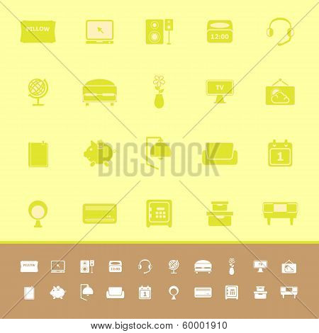 Bedroom Color Icons On Yellow Background