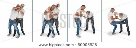 Man defending headlock