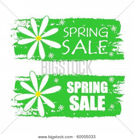 Spring Sale With Flowers Signs, Green Drawn Labels