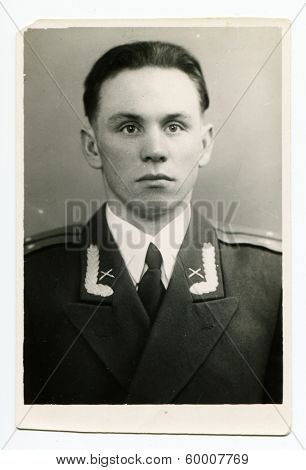 KURSK, USSR - CIRCA 1950: An antique photo shows portrait of a Soviet Army lieutenant in uniform.