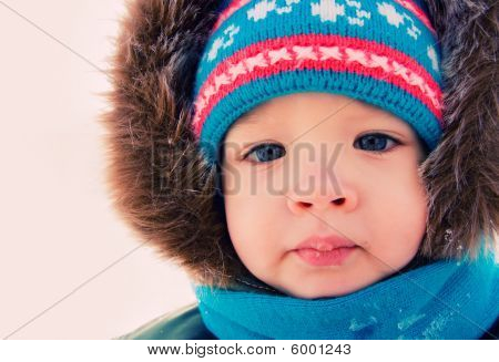 Boy Outdoor Snow Winter. Christmas Time