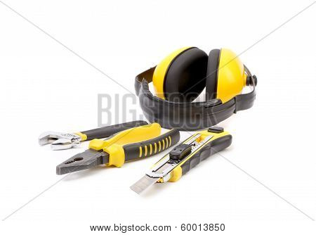 Repair tools and protective ear muffs.