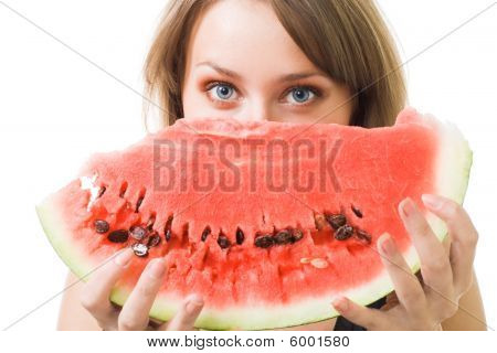 Woman Stare Behind Watermelon