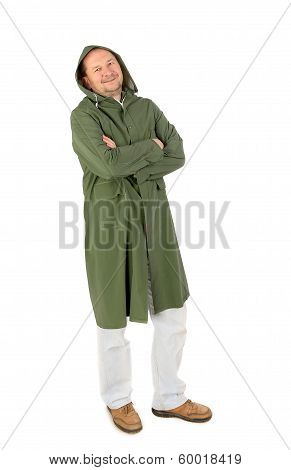 Man in waterproof coat with hood.
