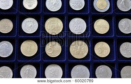 Numismatic collection of old coins