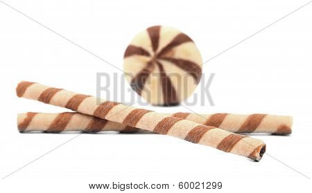 Chocolate wafer rolls and stake biscuits.