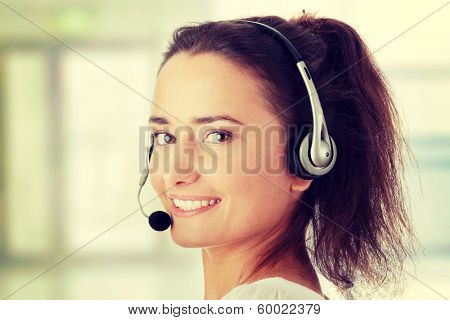 Young woman - call center worker