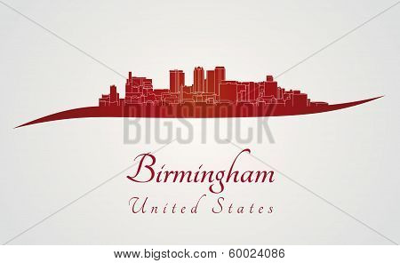 Birmingham Al Skyline In Red