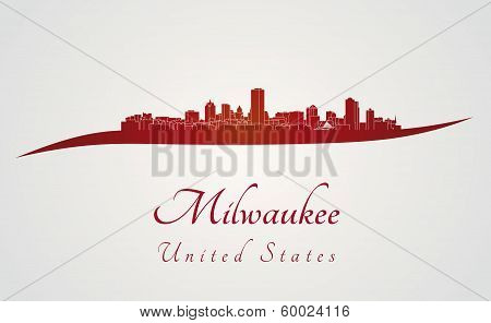 Milwaukee Skyline In Red