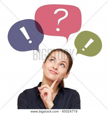 Business Thinking Woman With Colorful Chat Bubbles Above Isolated