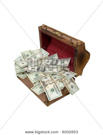 Wooden Treasure Chest Full Of Money