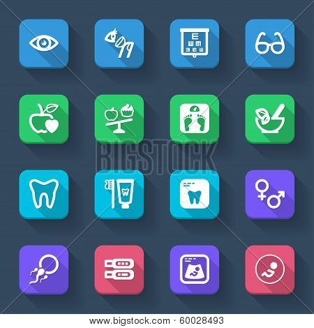 Nutrition. Dental. Ophthalmology. Pregnancy. Healthcare Flat Icons