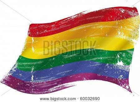 Gay flag with a texture in the win