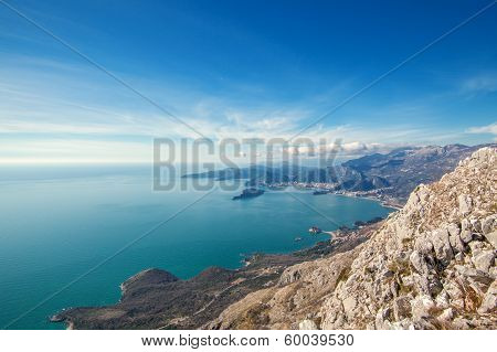Seascape Montenegro. Mountains and islands.