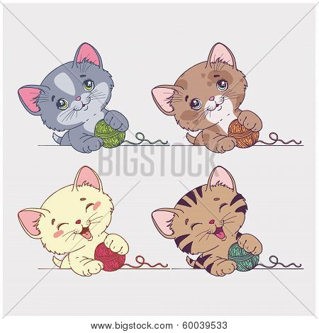 vector cartoon cats set