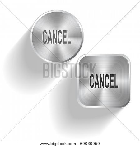 Cancel. Vector set steel buttons