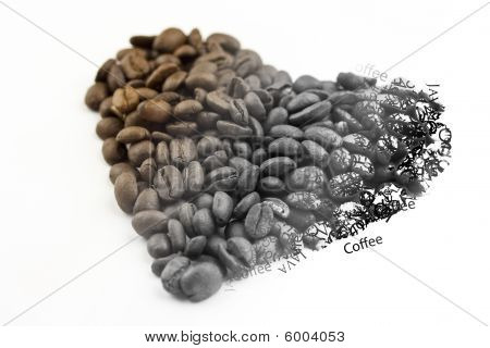 Coffee Bean Heart Fading To Words