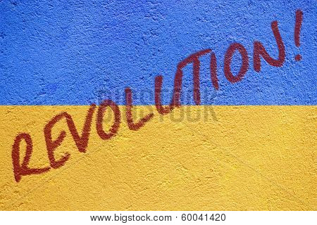 Ukraine Flag Painted On Old Concrete Wall With Revolution Inscription