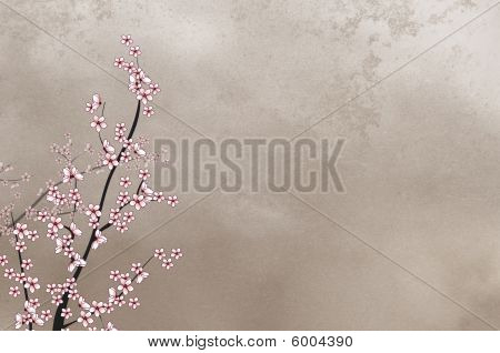 Nice decorative cherry tree on rough background with place for text or image