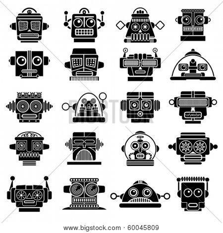 Vintage Retro Robot Heads