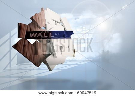 Wall street on abstract screen against room with holographic cloud