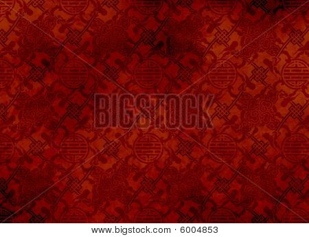 Chinese red textured pattern in filigree for background or wallpaper - smooth