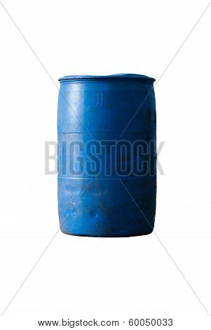 Blue Plastic 200 Litre Isolated On White