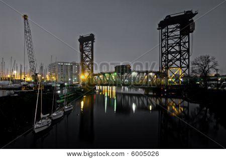 Chicago River Scene At Night