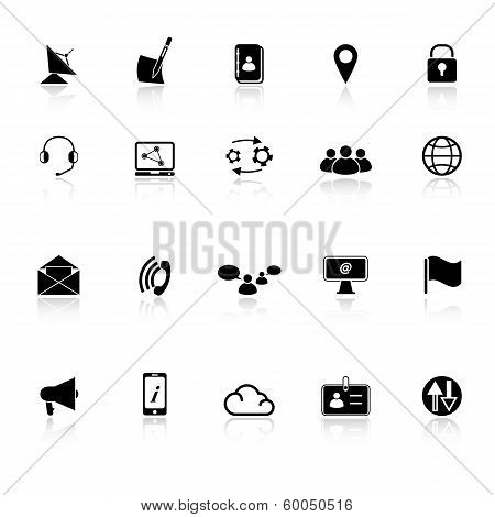 Communication Icons With Reflect On White Background
