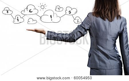 Close up of businessman hand and business symbols