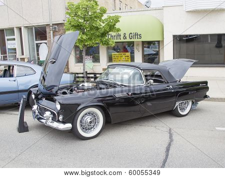 1955 Black Ford Thunderbird Side View