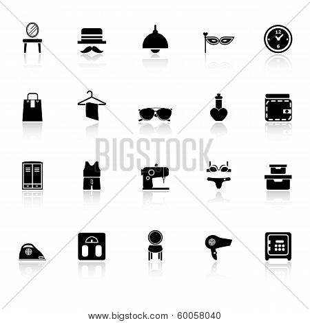 Dressing Room Icons With Reflect On White Background