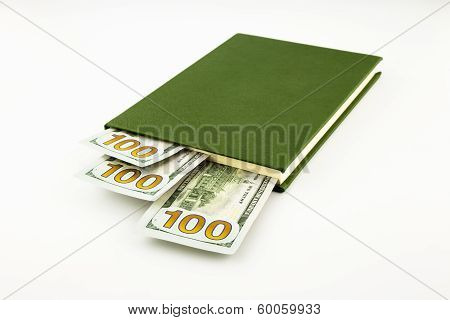 Dollar Money Banknotes And Book
