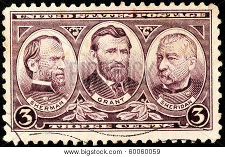 Sherman, Grant And Sheridan Stamp