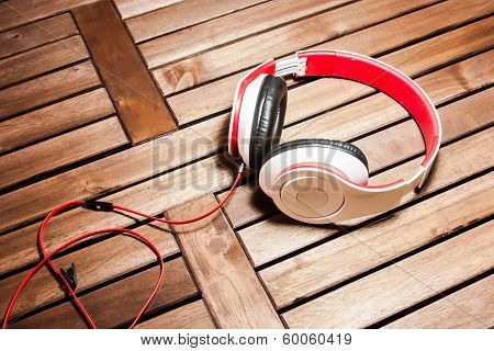 Headphone On Wood Slat