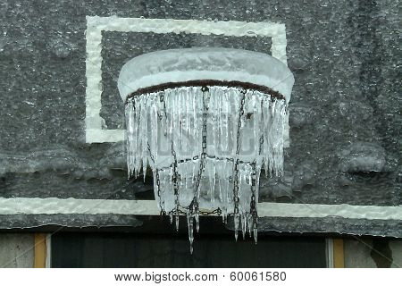 Freezing Basketball Hoop