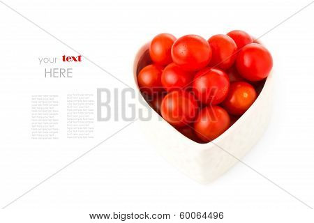 fresh tomatos in a heart shape representing love and valentines day