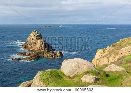 Rocks and Longships lighthouse Lands End Cornwall England
