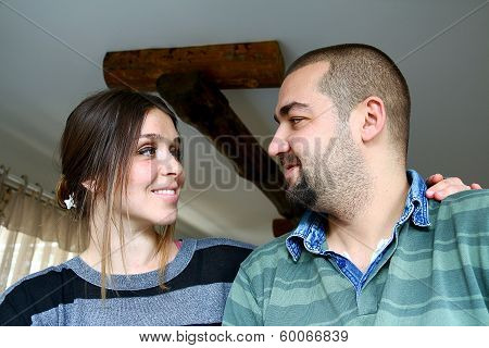 Young Turkish Couple Looking Eachother