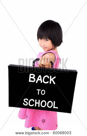 Little Girl In Pink Dress With Briefcase Message Back To School Isolated On White Background